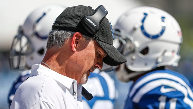 Indianapolis Colts head coach Chuck Pagano makes his way along the sideline during the game against the Los Angeles Rams in the third quarter of their game at the Los Angeles Memorial Coliseum in Los Angeles Sunday afternoon, Sept. 10, 2017.