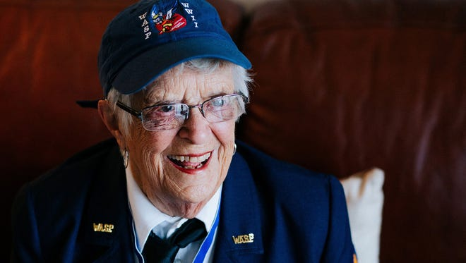 Mildred (Jane) Doyle, 96, a member of the Women Airforce Service Pilots during World War II, flashes a smile while speaking about her time in the service at her Grand Rapids, Mich., home.