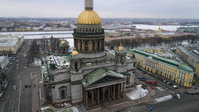 This is a Thursday, Jan. 12, 2017 file photo of an aerial view of St. Isaac's Cathedral in St. Petersburg, Russia. The Hermitage Museum Director Mikhail Piotrovsky has urged the head of the Russian Orthodox Church to recall its bid for a landmark St. Petersburg cathedral.