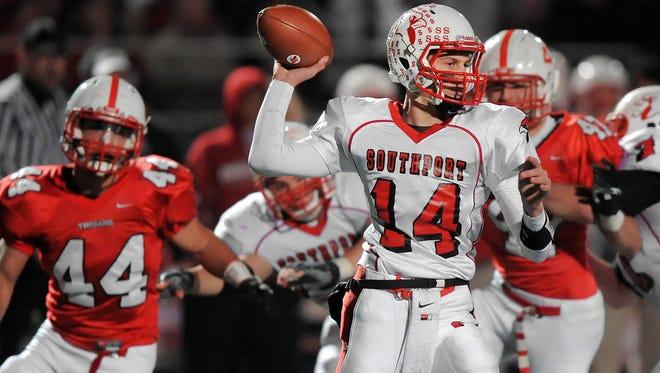 Southport quarterback Luke Johnston fires a pass in the second half of Friday night's IHSAA Regional Championship game held at Center Grove High School on November 8, 2013. Center Grove won 56-14. Matt Detrich / The Star