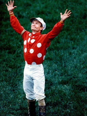 Pat Day, shown after winning the 1992 Kentucky Derby on Lil E. Tee, will be one of five Hall of Fame jockeys participating with trainer D. Wayne Lukas at Kentucky Derby Museum fundraiser April 17 at Keeneland.