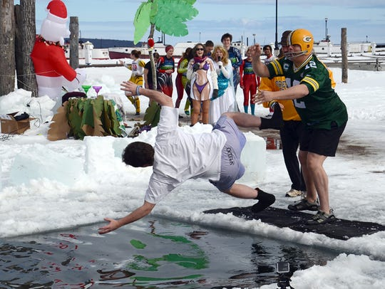 A Polar Plunge was held at Bayfield's WinterFEST on