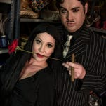 """Morticia (Rachelle Roberts) and Gomez Addams (Bradshaw Call) are at their darkest for the Oct. 3 opening of """"The Addams Family,"""" which makes its WNC premiere at Asheville Community Theatre."""