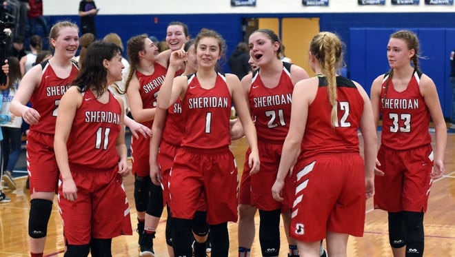 Sheridan players celebrated following their district final win against Washington Court House last season. The Generals return eight players from the regional runner-up squad.