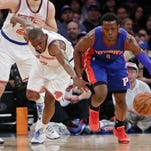 Detroit's Reggie Jackson (1) steals the ball from Langston Galloway of the New York Knicks during the first half Wednesday night.