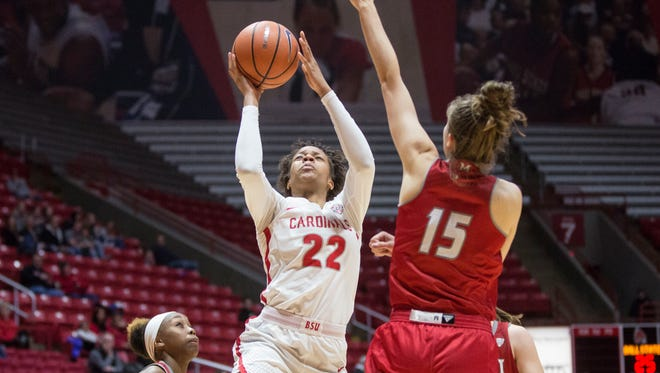 Ball State forward Destiny Washington attempts a shot on Jan. 3 in Worthen Arena during a game against Miami. The final score was 86-61.