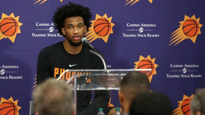 Duke forward Marvin Bagley III talks to the media during the Phoenix Suns pre-draft workout on June 8, 2018 at Talking Stick Resort Arena in Phoenix, Ariz.