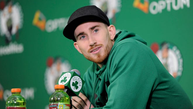 Celtics forward Gordon Hayward address the media at a news conference in November.