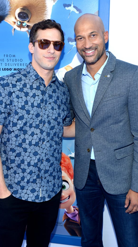 Andy Samberg (left) and Keegan-Michael Key arrive at