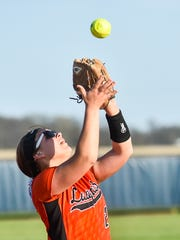 North Union's Avery Clark catches a popup during a game at River Valley. Clark, a senior, is one of the top softball talents in the area and is coming off an All-Ohio season in girls basketball.