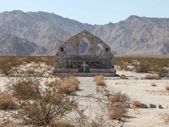 This remnants of a church that was built and was part of the Desert Training Center used during WWII to train troops.  It's also protected and is part of the Mojave Trails National Monument.