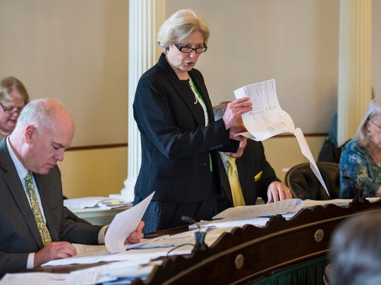 Sen. Jane Kitchel, D-Caledonia, chairwoman of the Senate Appropriations Committee, explains the senate's budget proposal at the Statehouse in Montpelier on Thursday.