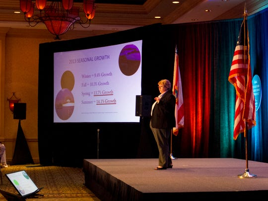 Tamara Pigott welcomes attendees to the Team Tourism Annual Summit at the Hyatt Regency Coconut Point on Wednesday.