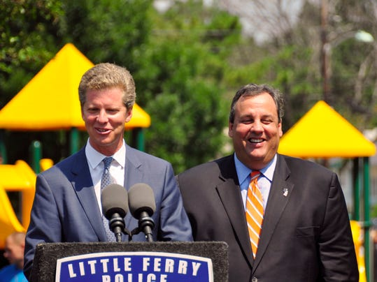 Housing & Urban Development Secretary Shaun Donovan and Gov. Chris Christie in Little Ferry in August 2013. They're together again today, at the same park, to announce federal grant awards. (Photo from NJ Office of Information Technology)