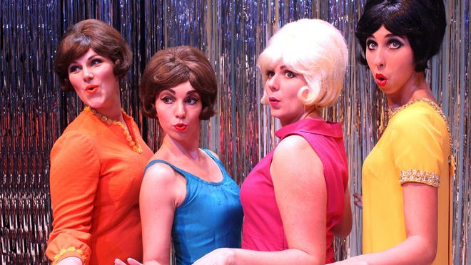 """From left, Jamie Ferguson of Clinton, McKenzie Pollock of Vicksburg, Holly Marie Weber of Tampa, Florida, and Heather Pate of Greenwood rehearse a scene from the Carey Dinner Theatre production of """"Beehive."""" The show runs through July 18 in the Joe and Virginia Tatum Theatre at William Carey University."""