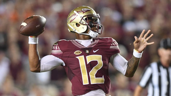 Florida State quarterback Deondre Francois (12) during the 1st quarter at Florida State's Doak Campbell Stadium in Tallahassee, Fl. on Saturday, October 29, 2016.