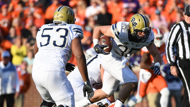 Pitt fullback George Aston (35) breaks free to score against Clemson during the 1st quarter on Saturday, November 12, 2016 at Clemson's Memorial Stadium.
