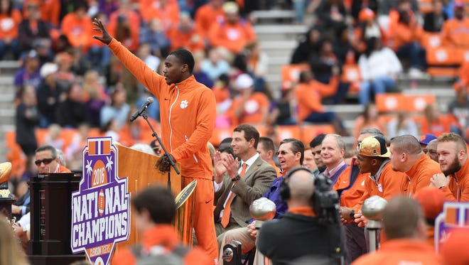 Clemson defensive back Jadar Johnson speaks during Clemson's National Championship celebration in Memorial Stadium on Saturday, January 14, 2017.