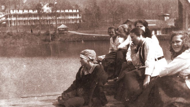 The girls at Montreat's Lake Susan in this circa 1917 photo were considered daring for wearing these swimsuits.