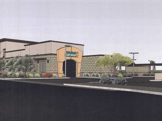 A rendering of the proposed Quick Quack car wash.