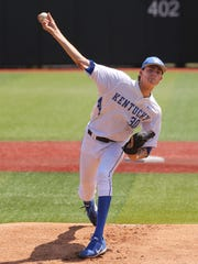 UK's Sean Hjelle (30) delivers a pitch against U of L during the super regional at Patterson Stadium.June 10, 2017