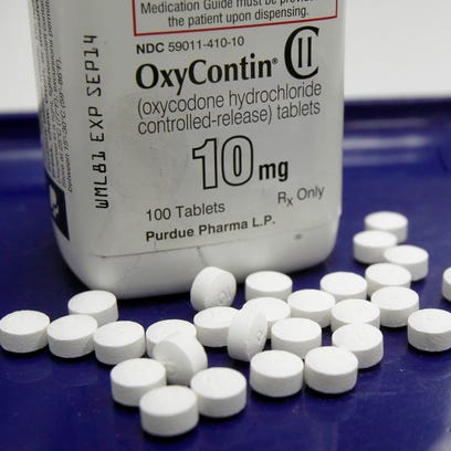 OxyContin pills are arranged at a pharmacy in Montpelier,