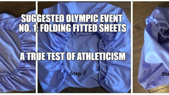Because anyone who can efficiently fold a fitted sheet is an athlete in my book.