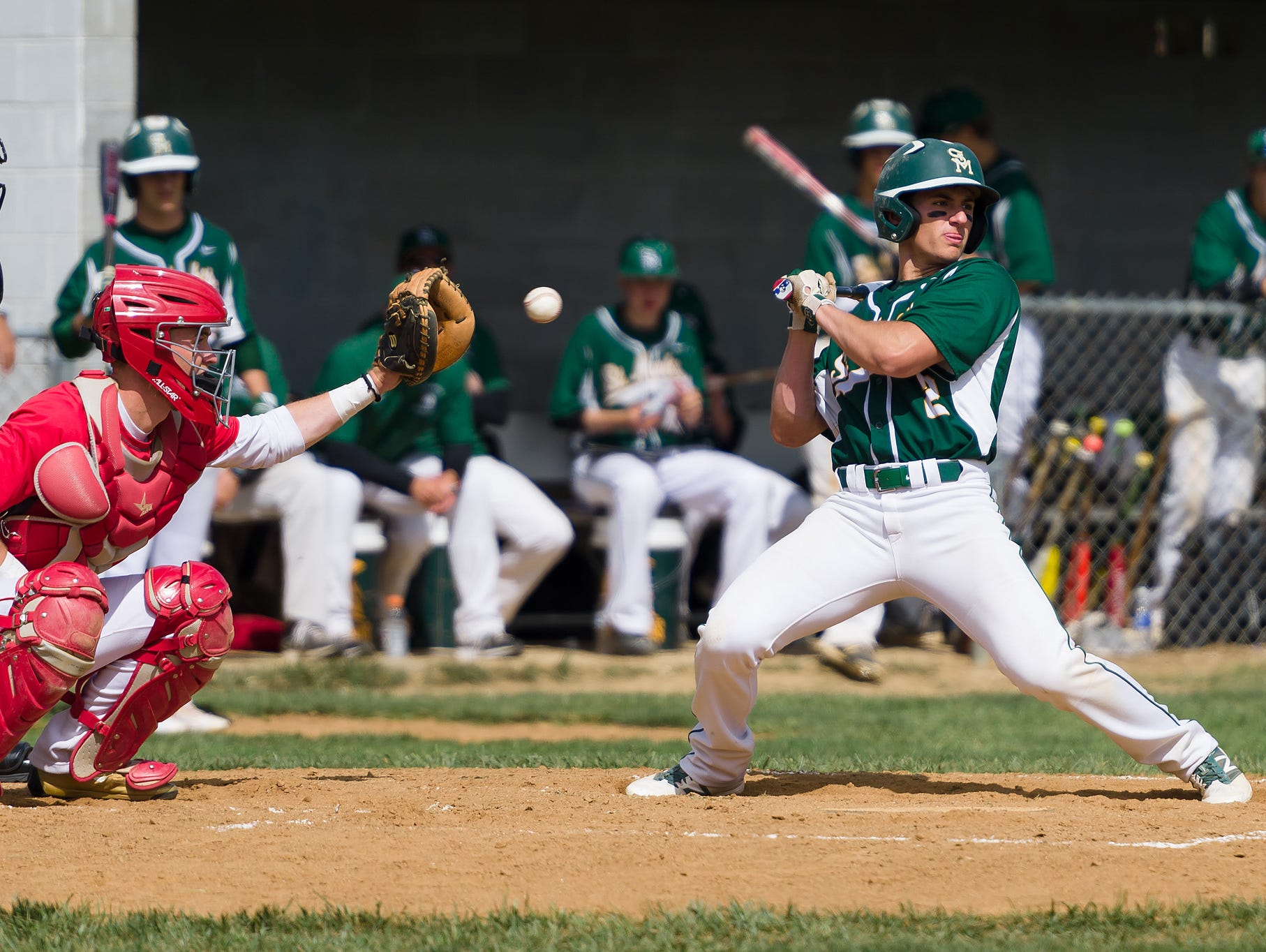 Austin Colmery (2) of St. Mark's dodges an inside pitch against Smyrna last season. Colmery is one of several returnees for the defending state champs, who begin this season ranked No. 1 by The News Journal.