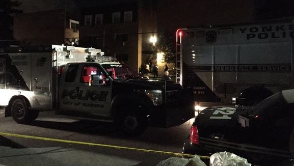 The scene of a reported hostage situation on Park Avenue in Yonkers, Aug. 3, 2015.
