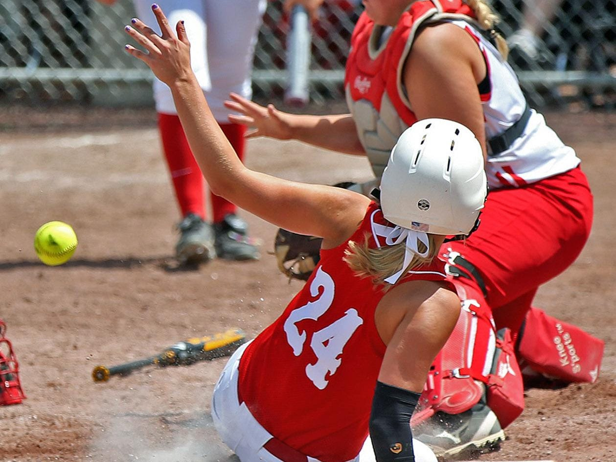 Highland's Courtnee Hahn (24), pictured last season, has scored 30 runs with a .339 average this year for the Huskies.