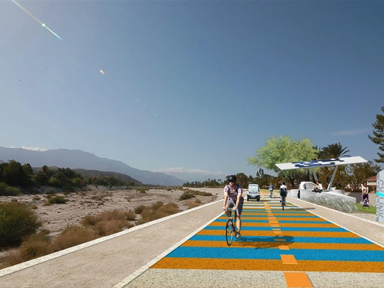 Artistic rendering of the CV Link, a proposed bicycle, pedestrian and low-speed electric vehicle path.