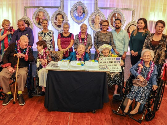 In this file photo from last year, local centenarians were celebrated at a Senior Citizens Month celebration on May 24, 2018, at an event organized by the Department of Public Health and Social Services Division of Senior Citizens. Centenarians were, front row from left: Julian Bryson Wilgus, 99, Shirley Marie Bridler, 99, Josefina Dorotea Yamanaka Blas, 103, Hae Im Yu Shim, 101, and Paz Mendiola Sablan, 100. Families of Julia Blas Sablan and Cesaria Cruz Arce, both 100, also Centenarians were, front row from left: Julian Bryson Wilgus, 99, Shirley Marie Bridler, 99, Josefina Dorotea Yamanaka Blas, 103, Hae Im Yu Shim, 101, and Paz Mendiola Sablan, 100.