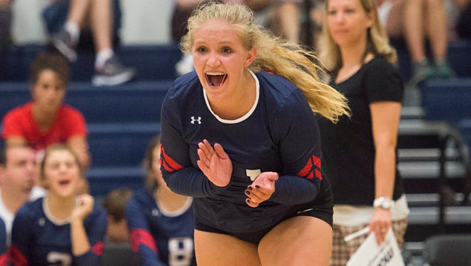 Chloe Russell of Liberty Common High School celebrates after the Eagles score against Heritage Christian Tuesday.