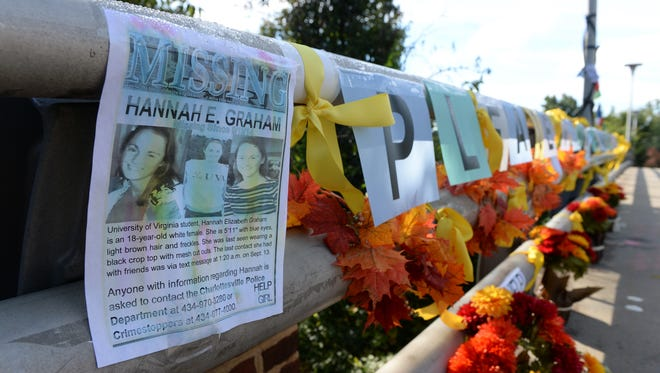Signs, flowers and yellow ribbons have been placed on the Copley Road Bridge as reminders of University of Virginia student Hannah Graham, who has been missing since Sept. 13.