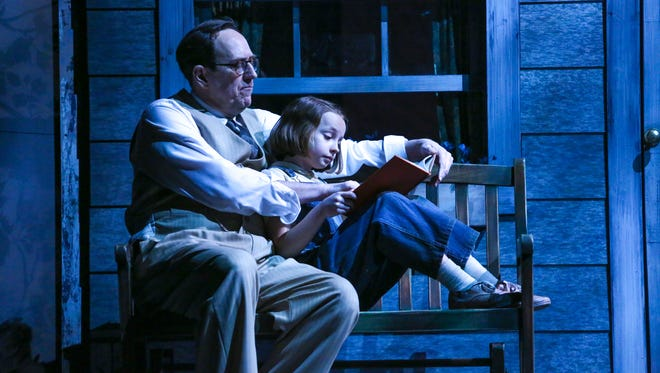 Skip Greer as Atticus Finch, and Erin Mueller as Scout Finch.