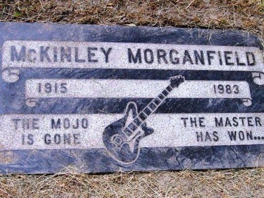 The gravestone of American blues musician McKinley Morganfield.