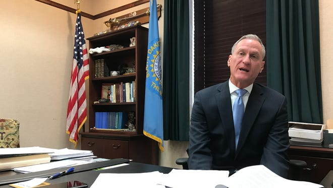 Gov. Dennis Daugaard speaks with Argus Leader Media about his State of the State address Monday, January 9 in Pierre.