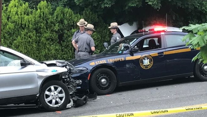 Police at the scene of a car accident at Hudson Street in Peekskill on Saturday, May 27th 2017. At least one person was hit by a car near the intersection of Hudson Avenue and Washington Street.