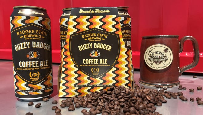 Buzzy Badger Coffee Ale from Badger State Brewing is rolling out in cans.