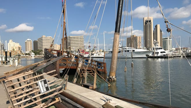 La Niña replica ship sunk after Hurricane Harvey hit the Corpus Christi Bay Aug. 25, 2017. A fundraiser was created to fix it.