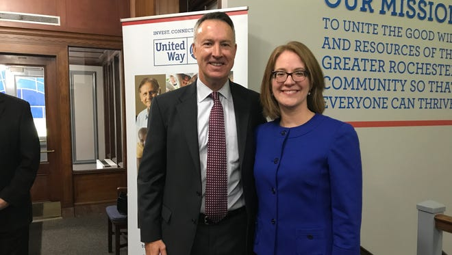 Dan Burns, United Way's board chairman, with Jaime Saunders, the new president and CEO of the United Way of Greater Rochester who will begin work on Jan.10, 2018