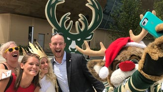 Bango was joined by representatives of the German American Chamber of Commerce of the Midwest, including Christkindl (in crown), on Monday for the announcement of a holiday market at the plaza outside the new Milwaukee Bucks arena. The Christkindlmarket will run from Nov. 17 through Dec. 31.