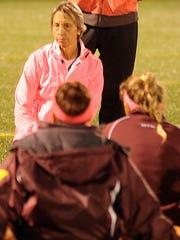 Salisbury head coach Dawn Chamberlin talks to her team after their 6-2 win over York on Wednesday, Oct. 12, 2016 at Sea Gull Stadium in Salisbury.