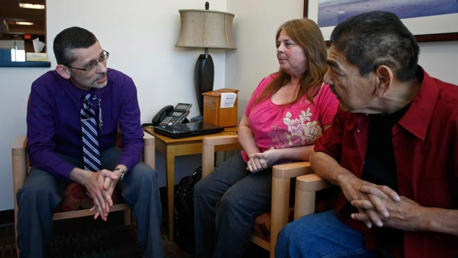 Salem Hospital Chaplian Ken Morse (left) was instrumental in helping Angela and Ricardo Cedillo cope with the serious medical condition their daughter, Victoria Wingerter, encountered soon after giving birth.