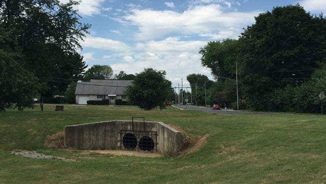 Meadow grass seed and trees will be planted at the Hazel Dike flood control intake at Third Avenue and Elm Street as part of one of four projects Lebanon is undertaking to control stormwater runoff with a $94,000 grant from the state Department of Environmental Protection.