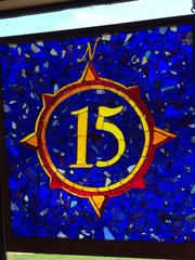 A stained-glass window at 15 North used leftover stained