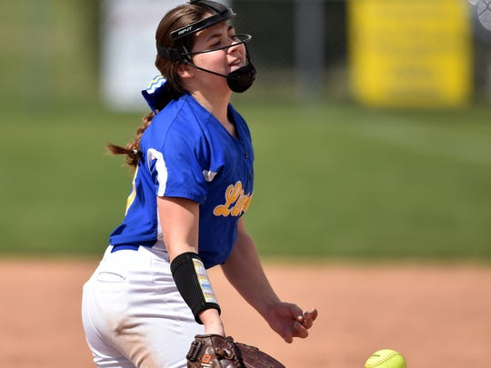 Lincoln's Hannah Hall pitches against Northeastern