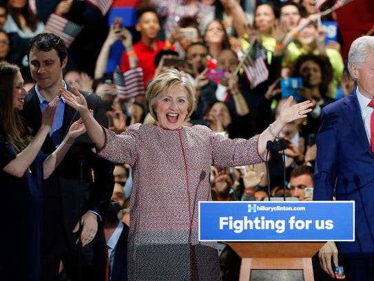 Democratic presidential candidate Hillary Clinton celebrates