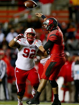 Defensive tackle Kevin Williams (92) pressures Rutgers during their game on Nov. 14. Williams announced Monday that he will transfer to MSU for his sixth year of eligibility.