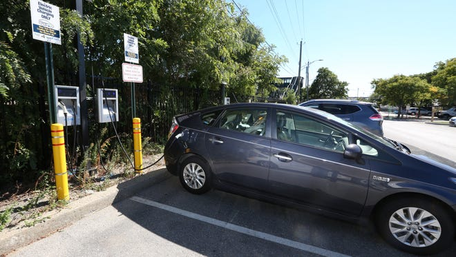 An electric car charging station at the Metro-North station in Tarrytown.